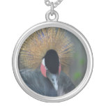 Curious African Crowned Crane Silver Plated Necklace