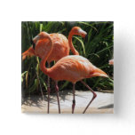 Flock of Flamingos Square Pin