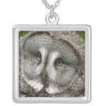 Great Grey Owl Sterling Silver Necklace