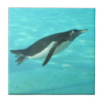 Penguin Swimming Underwater Ceramic Tile
