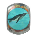 Penguin Swimming Underwater Glass Candy Jar