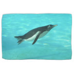 Penguin Swimming Underwater Kitchen Towel