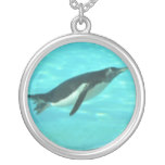 Penguin Swimming Underwater Silver Plated Necklace