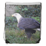 Standing American Bald Eagle Drawstring Backpack