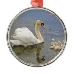 Swan Family Metal Ornament